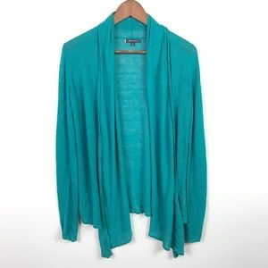 Anne Klein Open Front Cardigan Small Teal Green